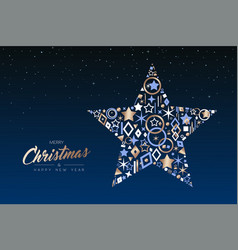 Christmas and new year star made of copper icons vector