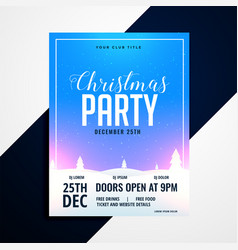 christmas flyer with beautiful winter lanscape vector image