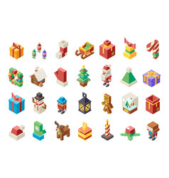 christmas lowpoly polygonal new year isometric 3d vector image