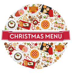 christmas menu food for celebrating xmas holidays vector image