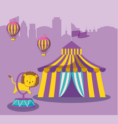 circus tent with cute animal and balloons air hot vector image