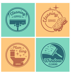 Cleaning service set of round badges vector