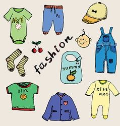 Clothes for baby boy set hand drawn sketch colored vector