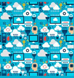 cloud technology tile pattern vector image