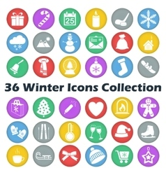 color winter circle icon collection vector image