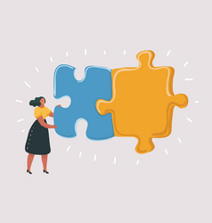 combining two puzzle pieces working together vector image