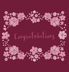 congratulations floral wreath on burgundy vector image