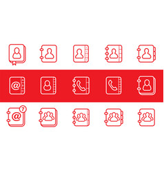 Contact us and address book icons isolated red vector
