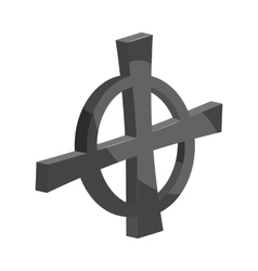 Cross in a circle icon black monochrome style vector image