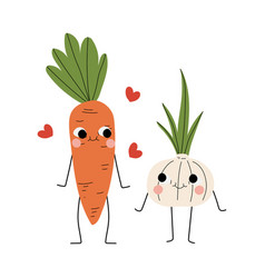 Cute carrot and garlic cheerful vegetables vector