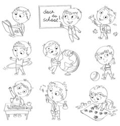 Cute schoolchild at a lesson vector