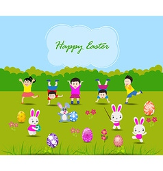 Easter card with kids and rabbits vector