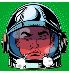 Emoticon anger rage Emoji face man astronaut retro vector