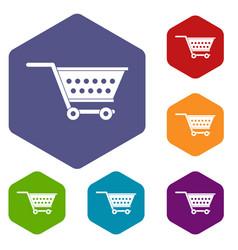 Empty supermarket cart icons set hexagon vector