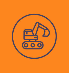 Excavator linear icon in circle vector