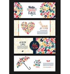 Fall set Leaves composition Banners of season vector image