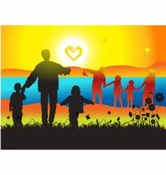 family and landscape vector image