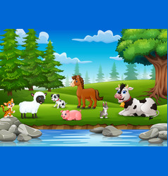 Farm animals are enjoying nature by the river vector