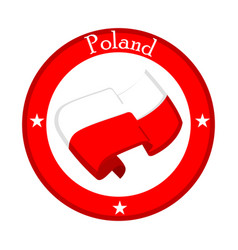 Flag of poland on a label vector