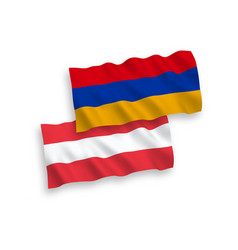Flags austria and armenia on a white background vector