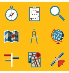 Flat icon set Navigation vector image