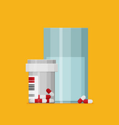 flat pill bottle with capsule pills and glass vector image