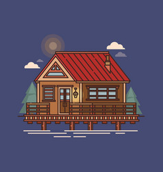 Floating house structure swimming building vector