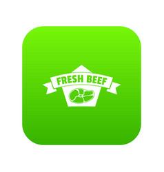 fresh eco beef icon green vector image