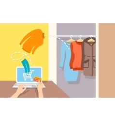 Girl buys casual winter clothes online by computer vector image