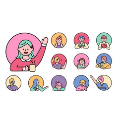girls and boys children in circles characters vector image