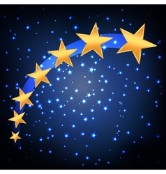 golden stars flying vector image