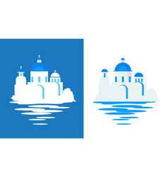 greek church with blue domes - flat travel vector image