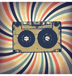 Grunge music background audio cassette on rays vector