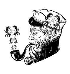 Hand drawn captain with pipe and crabs tattoo vector