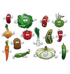 Happy cartoon fresh vegetables characters vector