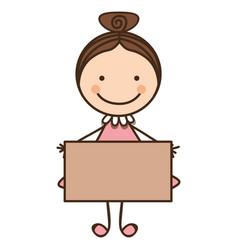 Happy girl with card icon vector