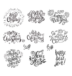 Happy New Year and Merry Christmas Text vector image