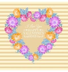 Heart floral frame vector image