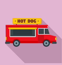 hot dog truck icon flat style vector image