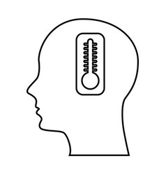 Human profile with thermometer vector