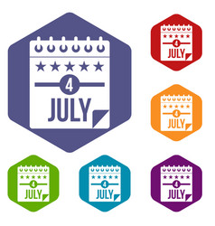 independence day icons set hexagon vector image
