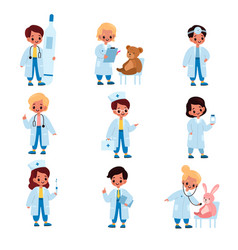 kids doctors little girl and boys in vector image