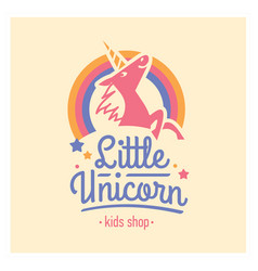 Kids shop logo with pink unicorn cute vector