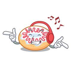 Listening music jelly donut mascot cartoon vector
