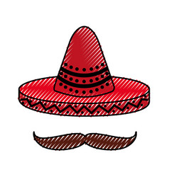 mexican hat and mustache culture symbol vector image