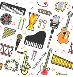 musical instruments flat icons seamless pattern vector image