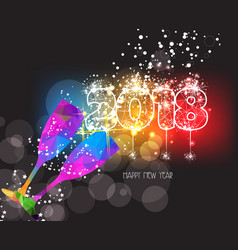 new years 2018 polygonal colorful triangle glass vector image