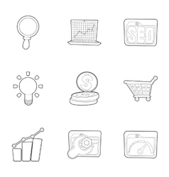 Promotion icons set outline style vector image