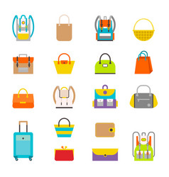 Pupil s colorful backpacks set vector