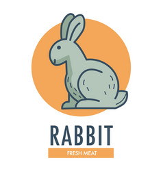 rabbit fresh meat promotional logotype with farm vector image